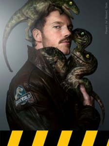 Chris Pratt with Raptor babies